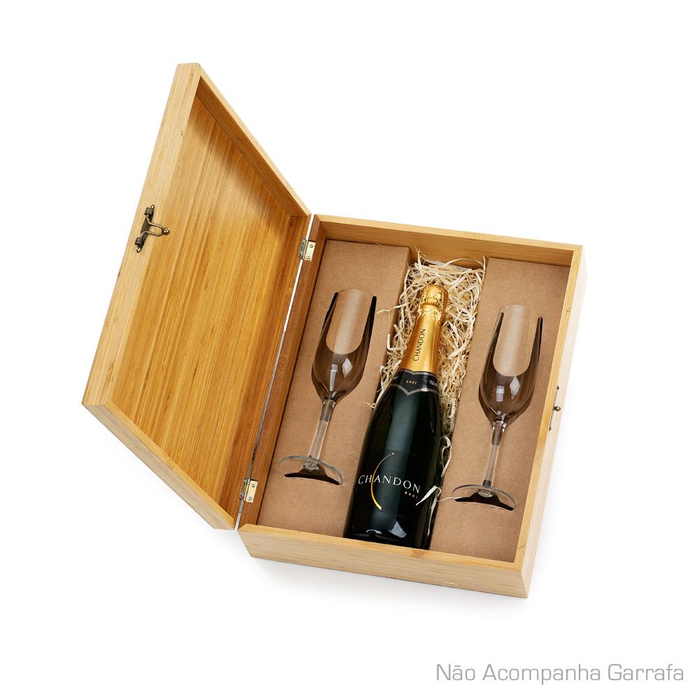 Caixa em Bambu 2 Taças para Champanhe Não acompanha garrafa COP6177